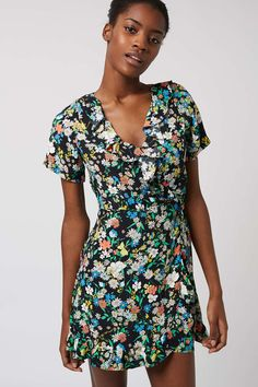 PETITE Retro Floral Tea Dress - Topshop