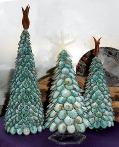 Items similar to Coastal Cottage Boho Beach Inspired Green Limpet Seashell Tree with Starfish Top - Wedding Photo Prop Holiday Tree Craft Gift Handmade on Etsy