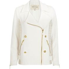 River Island Cream leather look panel biker jacket (310 SEK) found on Polyvore