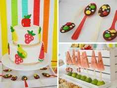 World Children's Day Colorful Party | Kara'sPartyIdeas.com | I love everything about this party.  Esp. the cake (how vibrant! I bet you could use chocolate instead of fondant) and the watermelon trees.  So cute.