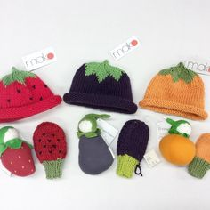 Our fruits and veggie collection make for very cute gifts or easy halloween costumes. #makohandknits #handknit #handmade #shopsmall #hats #beanies #mittens #fruits #veggies #halloween #baby #babygift #babyshower