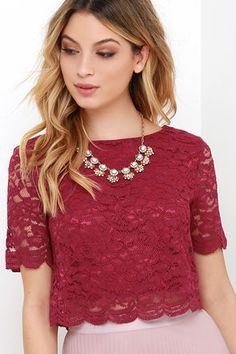 When you start your day or night with the When You Believe Wine Red Lace Crop Top, what ensues is sure to be a magical time! Scalloped details along the sleeves and hem. Lace Top Outfits, Lace Top Dress, Red Lace Crop Top, Lace Crop Tops, Cropped Tops, Dressy Tops, Short Tops, Lace Up Heels, Nice Dresses