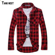 TANGNEST Men Plaid Shirt Men's Long-sleeved Shirt Male Casual High Quality Shirt