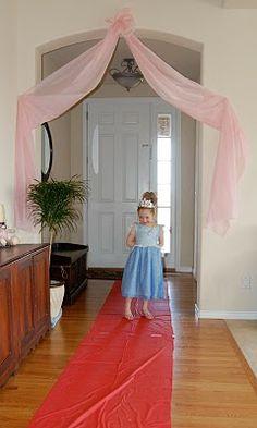 Plastic tablecloth curtain.  MKHKKH: Princess Kaitlin's Royal Birthday Ball