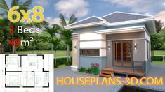 Small House Design Plans with 2 Bedrooms Full Plans - House Plans Simple House Plans, Simple House Design, Dream House Plans, Tiny House Design, Flat Roof House, House Construction Plan, Three Bedroom House Plan, Modern Bungalow House, Architectural House Plans