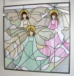 Stained Glass Panel  Three Angels by DobbyStainedGlass on Etsy, $630.00