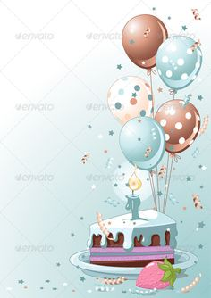 Buy Slice of Birthday Cake with Balloons by Dazdraperma on GraphicRiver. Illustration of a Slice of Birthday Cake with Balloons and Confetti. Happy Birthday Clip Art, Birthday Clips, Happy Birthday Wallpaper, Happy Birthday Wishes Cards, Birthday Cake Card, Happy Birthday Pictures, Birthday Frames, Birthday Background Design, Birthday Balloons