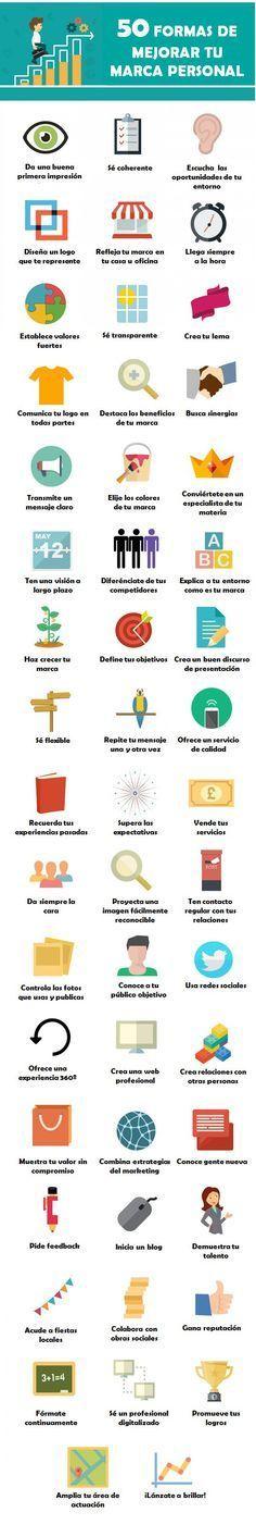 50 formas de mejorar tu Marca Personal #infografia #infographic #marketing