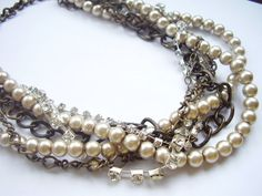 Champagne pearl antique gold chains silver by WildStoneJewels, $40.00