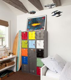 vintage industrial teen bedroom | Vintage lockers provide indestructible storage for teens, and add a ...