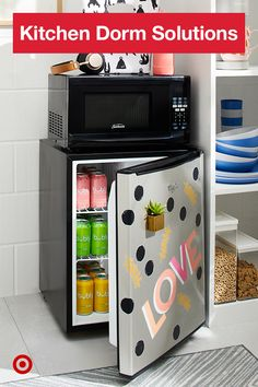 the microwave to the mini fridge, save space and stack your kitchenette . From the microwave to the mini fridge, save space and stack your kitchenette .,From the microwave to the mini fridge, save space and sta. Dorm Room Designs, Living Room Designs, Dorm Kitchen, Dorm Essentials, Kitchen Essentials, Cool Dorm Rooms, College Dorm Rooms, College Gifts, Dorm Life