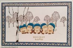 Art Impressions Rubber Stamps: Ai Whoots: 4128 – Five Whoots Set...handmade winter holiday card.