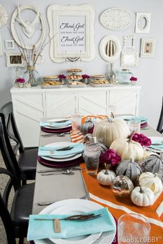 Modern Thanksgiving and Autumn Table in Grey, White, Blue, and Maroon – spotted on Pinterest