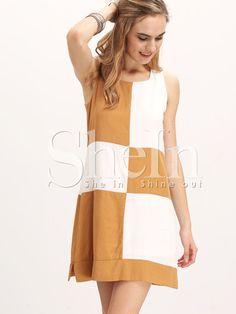 Vestido cuadros sin manga holgado -blanco