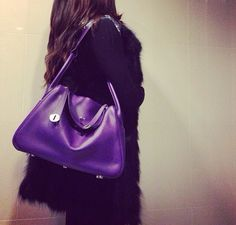 Hermes Lindy in ultraviolet swift leather