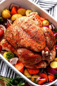 We seriously love roast chicken It is so tender and delicious we can t get enough of it all year spendwithpennies roastchicken roastedchicken wholechicken wholeroastchicken chickendinner chicken Whole Chicken In Oven, Baked Whole Chicken Recipes, Cooking Whole Chicken, Roast Chicken Recipes, Stuffed Whole Chicken, Roasting Chicken In Oven, Roast Chicken Dinner, Roasted Vegetables With Chicken, Whole Roasted Chicken