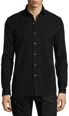 Shop Denim Button-Front Shirt, Black from Ralph Lauren at Neiman Marcus  Last Call, where you ll save as much as on designer fashions. 14a2e482f54c
