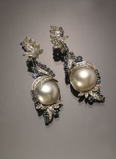 Pair of Tested Platinum, Mabé Pearl, Diamond and Blue Sapphire Pendant Earrings Jewelry, Coins & Watches - Sale 1301 - Lot 103 - ADAM A. WESCHLER & SON, INC : AUCTIONEERS AND APPRAISERS - SINCE 1890