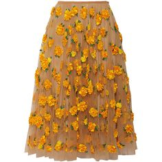 Michael Kors Embellished tulle midi skirt (602.555 RUB) ❤ liked on Polyvore featuring skirts, bottoms, michael kors, saffron, flower midi skirt, michael kors skirts, leaf skirt, brown midi skirt and knee length tulle skirt