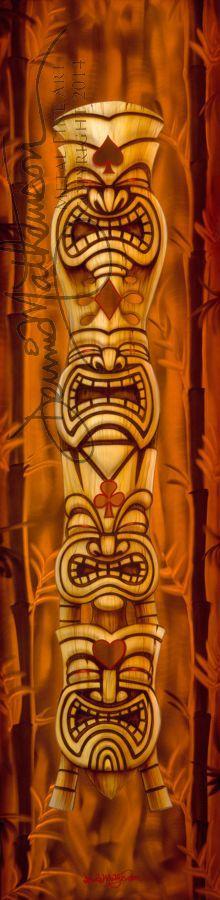 Tall order tiki-- artwork on metal by Hawaii artist Dennis Mathewson… Airbrush Designs, Airbrush Art, Tiki Art, Tiki Tiki, Tiki Tattoo, Tiki Totem, Tiki Lounge, Vintage Tiki, Hula Girl