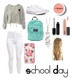 """""""Casual School Day Outfit"""" by starliejackson ❤ liked on Polyvore featuring Sans Souci, Converse, JanSport, Kate Spade, Sharon Khazzam, LORAC, Marc Jacobs and MAC Cosmetics"""