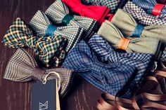Have an idea for a super special bow tie? Do you need a wonderful Christmas, Birthday, business gift or a wedding bow tie? I am happy to collaborate with you. Feel free to send me a message outlining what you would like. ▬ Fabric: - All the bow ties are created from the Italian fabrics of the highest quality or Lithuanian fabrics (certificat OekoTex 100) In the center of bow I use Spanish genuine leather, fur or cotton rope.  ▬ Type: - Ready-Tied (Pre-Tied) - Self-Tied ▬ Size: - standard (6…