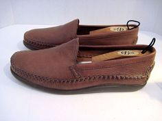 JOHNSTON MURPHY HANDCRAFTED LEATHER STITCHED MOCCASIN LOAFERS SLIP ONS SIZE 11 #JohnstonMurphy #LoafersSlipOns