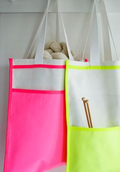 Neon Inside Out Bag! - Knitting Crochet Sewing Crafts Patterns and Ideas! - the purl bee