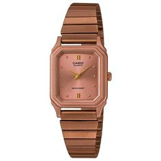 Casio Women's Stainless Steel Bracelet Strap Watch , Rose Gold (34,945 KRW) ❤ liked on Polyvore featuring jewelry, watches, rose gold, rose gold tone bracelet, rose gold bracelet, gold tone watches, clasp bracelet and gold tone bracelet