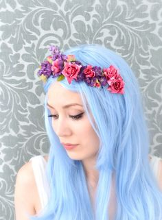 Floral crown, hot pink and purple flower headband, boho hair accessory lovely pastel blue hair Pastel Blue Hair, Light Blue Hair, Dyed Hair Blue, Pink And Purple Flowers, Lilac Hair, Pastel Colors, Pastels, Boho Headband, Floral Headpiece