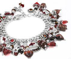 Chocolate Ruby Heart Bracelet