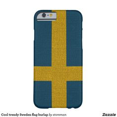 Cool trendy Sweden flag burlap Barely There iPhone 6 Case
