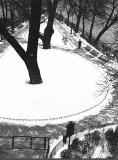 """undr: """"André Kertész. Le square du Vert-Galant sous la neige en 1923 """""""