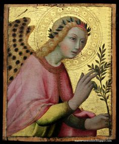 Sano di Pietro (Siena, 1406-1481) The Angel of the Annunciation (photo taken in natural light)