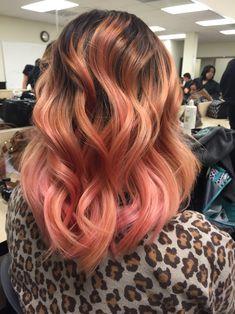 Rose gold hair. Pretty Flamingo. Balayage