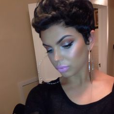 Awesome cut-perfect makeup #shorthairdontcare #Moriahlaz