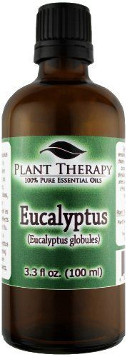 Eucalyptus (Eucalyptus globules) Essential Oil. 100 ml (3.3 oz). 100% Pure, Undiluted, Therapeutic Grade. by Plant Therapy Essential Oils. $19.95. 100% Certified Pure, Therapeutic Grade Essential Oil- no fillers, additives, bases or carriers added.. For your convenience all Plant Therapy Essential Oils have an oil identification sticker on the cap. This is especially beneficial if you use a top load carrying case.. Packaged in dark amber glass bottle with euro style dropper ca...