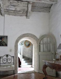 Arched doorway, door, terra cotta tiles, palette