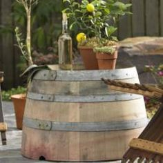 wine barrell outdoor table