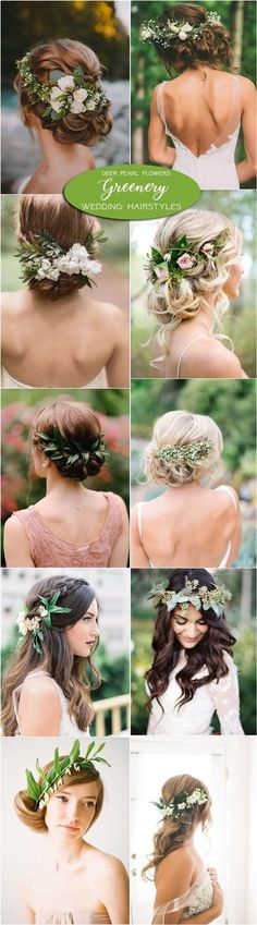 Greenery wedding hairstyles and wedding updos with green flowers. Great For Long Hair, Medium Length, and Short Hair. Goes With Veil Or A Vintage, Romantic, Country look For Bridesmaids.