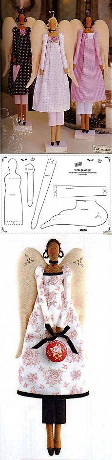 винтажный ангел тильда пошагово с выкройкой   тильда мастер (тильдамастер)
