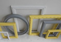 Picture Frame Collection - Vintage Ornate Cottage Chic - Painted Yellow Grey Gray And White - Gallery Wall - Modern Home Decor on Etsy, $72.00