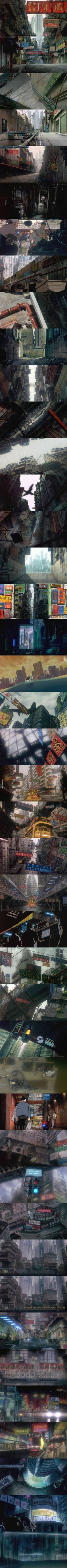 Ghost in the Shell (1995) has some of the most detailed and interesting backgrounds I've ever seen in an animated movie.