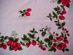 Vintage 50s Summer STRAWBERRY Cottage Tablecloth BERRIES & BLOOMS Bright Colors  | eBay