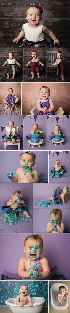 Makaila's epic cake smash and first birthday photo shoot in studio.  Sunny S-H Photography