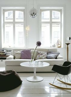 Disco ball, eames rocking chair and some throw overs Living Room White, Beautiful Living Rooms, White Rooms, Home Living Room, Living Spaces, White Walls, Beautiful Interiors, Living Area, Room Inspiration