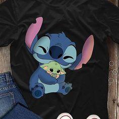 Cute Stitch hug Baby Yoda funny meme tshirt, Yoda tshirt, baby Yoda shirt tee, Stitch and Yoda, Stitch cute, Stitch Yoda movie tshirt