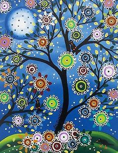 Original Custom Painting Folk Art Black Birds Tree Art Whimsical Tree of Life