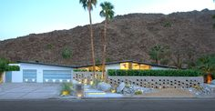 Front view of house at. Walled and gated for privacy. Spectacular mountain views - Palm Springs vacation rental