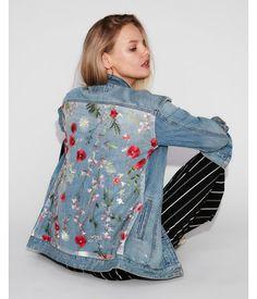 Floral Embroidered Back Denim Boyfriend Jacket Blue Women's M/L